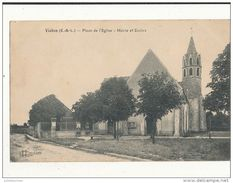 28 VIABON PLACE DE L EGLISE MAIRIE ET ECOLES CPA BON ETAT - France
