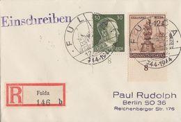 DR R-Brief Mif Minr.794,886 Plf.III Punkt über D Von Fulda SST Fulda 12.3.44 Geprüft Schlegel BPP - Briefe U. Dokumente