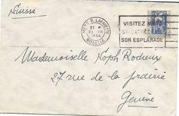 Metz, France, Yvert N°294 Colombe De La Paix, Seul Sur Lettre Pour Genève (Suisse), 1934, Au Tarif. Jolie Qualité - Postmark Collection (Covers)