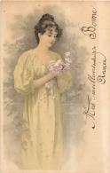 ILLUSTRATEUR FEMME AVEC BOUQUET  VOYAGEE 1902 - Illustrateurs & Photographes