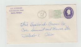 ENTIER POSTAL - Manton - MICHIGAN - COX HARDWARE - Timbre En Relief - 1941-60