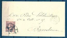 1863 , ALICANTE , SOBRE CIRCULADO A BARCELONA , MAT. RUEDA DE CARRETA Nº 9 SOBRE ED. 58 , 4 CUARTOS - 1850-68 Königreich: Isabella II.