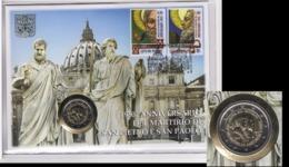 ** 2 EUROS VATICAN 2017 ( 1950e ANNIVERSAIRE DU MARTYRE DE SAINT PIERRE ET  ) PIECE NEUVE SOUS POCHETTE PHILATELIQUE  ** - Vatikan