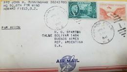O) 1947 CANAL ZONE, ROOSEVELT - 1 C. , GAILLAR CUT AP1 - 1 CENTS ORANGE, TO ARGENTINA PAR AVION, XF - Canal Zone