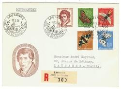 Suisse // Schweiz // Switzerland //  Pro-Juventute  // Lettre Recommandée Pour Lausanne Série 1955 Obl. Jubilé Du Simplo - Lettres & Documents