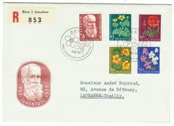 Suisse // Schweiz // Switzerland //  Pro-Juventute  // Lettre Recommandée Pour Lausanne Série 1959 Obl. 1er Jour - Lettres & Documents