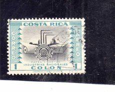 COSTA RICA 1954 AIR MAIL POSTA AEREA AEREO INDUSTRIES INDUSTRIAS NACIONALES PAPER COLON 1col USATO USED OBLITERE' - Costa Rica