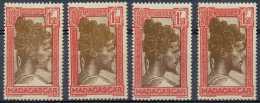 D- Madagascar 1930, N° 176A, 1F50 Rouge Et Brun, Chef Sakalave, En 4 TB Nuances, **/mnh - Madagascar (1889-1960)