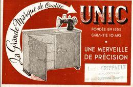UNIC MACHINE A COUDRE    (louis Griffault Breuil Coiffaud Par Chef Boutonne ) - Buvards, Protège-cahiers Illustrés