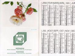Calendrier Publicitaire De 1989 - Imprimerie Rimbaud - Cavaillon (Vse)     (100400) - Calendriers