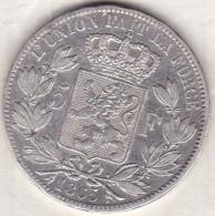 BELGIQUE . 5 FRANCS 1865 . LEOPOLD PREMIER. ARGENT. Position A - 1831-1865: Léopold I