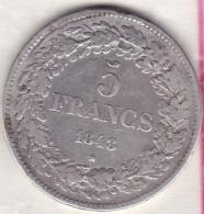 BELGIQUE . 5 FRANCS 1848 . LEOPOLD PREMIER. ARGENT. Position A - 1831-1865: Léopold I