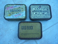 "Three ""Gold Block"" Metal Tobacco Tins - Boites à Tabac Vides"