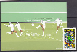 Soccer World Cup 1974 - BRAZIL - S/S+1v MNH** - Copa Mundial