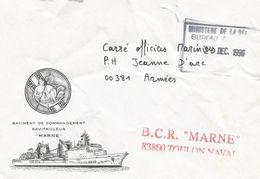 France 1996 BCR Marne Toulon Naval Vers P.H. Jeanne D'Arc Cover - Marcofilie (Brieven)