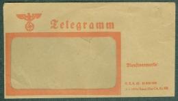 Enveloppe Telegramme 3ème Reich Aigle Croix Gammée Nazie Allemagne - Briefe U. Dokumente