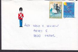 Denmark Pen Cds. 1994 Cover Brief Royal Guards Vignette Christmas Seal H. C. Andersen Shepherdess And The Chimney Sweep - Dänemark