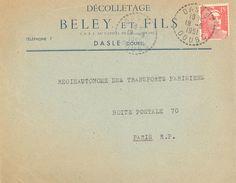 1617 DASLE Doubs 15 F Gandon YV 813 Rouge Ob 15 6 1951 Lettre Entête DECOLLETAGE BELEY Et Fils - Postmark Collection (Covers)