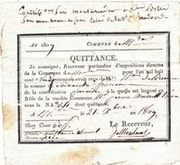 RECU D'IMPOSITIONS DIRECTES Pour La Somme De SOIXANTE FRANCS, Daté Du 21 Octobre 1809 - Voir Le Scan - 1800 – 1899