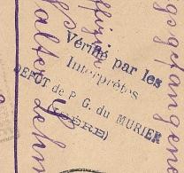 Vérifié INTERPRETES DEPOT De PG Du MURIER Isère Pour LA MURE. Origine GROSSHARTHAU. - Storia Postale