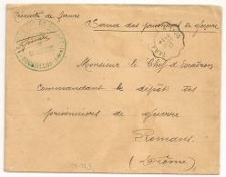 En Vert ROUSSILLON Isère PRISONNIERS DE GUERRE. Convoyeur TARASCON A LYON. - Storia Postale