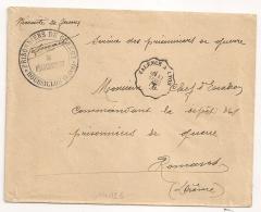 En Noir ROUSSILLON Isère PRISONNIERS DE GUERRE. Convoyeur VALENCE A LYON. - Storia Postale