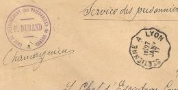 CHAMAGNIEU Isère PRISONNIERS DE GUERRE. Convoyeur ST ETIENNE A LYON - Storia Postale