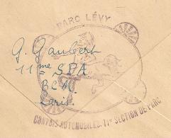 Superbe CENTAURE, PARC LEVY, CONVOIS AUTOMOBILES. 11e SECTION DE PARC. TRESOR ET POSTES 3. 1917. - Storia Postale