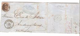 TP 10A S/LAC Dupuis Filateur Obl.P.168 C.Ottignies 27/6/1860 V.Auderghem C.d'arrivée Boitsfort Belle En-tête PR4756 - Postmark Collection