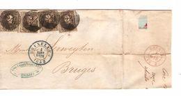 TP 6(4) S/LSC Obl.P.24 C.Bruxelles 4/1/1852 V.Bruges C.d'arrivée PR4757 - Postmark Collection