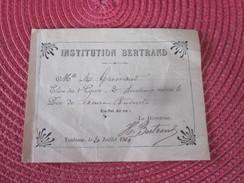 BILLET PRIX BONNE CONDUITE 1914 INSTITUTION BERTRAND TOULOUSE - France