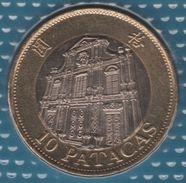 MACAU 10 PATACAS 1997 KM# 83 Bi-métallique Cathédrale De Macao - Macau