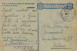 FRANCHIGIA WWII POSTA MILITARE 217 1943 IGLESIAS X MILANO - Military Mail (PM)
