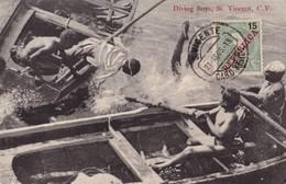 S.VICENTE, Cabo Verde. -Diving Boys. Carte Ancienne Très RARE - Cape Verde