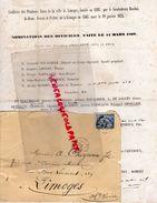 87-LIMOGES-LETTRE NOMINATIONS OFFICIERS 1869 CONFRERIE PENITENTS NOIRS-BARDON DE BRUN-NOUALHIER-ARDANT-TARNEAUD-CHEYROUX - Historical Documents