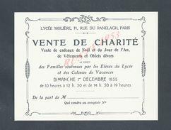FAIRE PART D INVITATION CARTE PARIS LYCEE MOLIERE RUE DU RANELACH VENTE DE CHARITE 1935 : - Faire-part