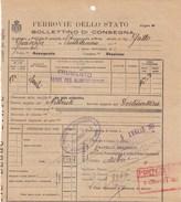 BIGLIETTO FERROVIE DELLO STATO -BOLLETTINO DI CONSEGNA - DA FIORENZUOLA D ARDA  A PONTEDECIMO -1927 -VIAGGIATO- - Chemin De Fer