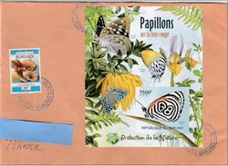 W] Enveloppe Circulée Circulated Cover Burundi Feuillet NON Dentelé IMPERFORATED Insecte Insect Papillon Butterfly - Papillons