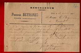Courrier Mémorandum Prosper Beyrines Ossès 16-04-1894 - Frankreich