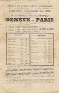 GENEVE-PARIS Exposition Universelle De 1900, Trains Spéciaux à Prix Exceptionnels (2e Et 3e Classe) - Europe