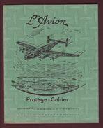 PROTEGE-CAHIER - L'AVION - 4 Volets, 70 Cm Dépliés - Coloris Vert - Voir Les 4 Scannes - Protège-cahiers