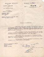 Lettre Du Ministère De La Santé Publique Et De La Population Signée Du Député - Ministre Martinaud-Deplat  (100421) - Autographes
