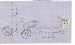 TP 18 S/LAC C.Bleu Boucher Feyerick Tournai LOS 363 C.Tournay 26/6/1868 V.Eecloo C.d'arrivée PR4765 - Postmarks - Points