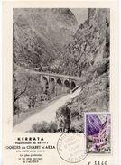 """1960 - Kerrata Algérie -  Oblitération Temporaire 1er Jour  """"GORGES DE KERRATA"""" Sur Carte Postale Des Gorges - Tp N° 123 - FDC"""