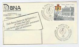 1987 Napoli TEARTO SAN CARLO 250th Anniv EVENT COVER By Banca Nazionale Opera Music Banking Stamp Italy Theatre Heraldic - Music