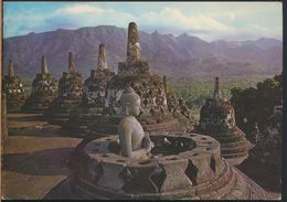 °°° 8726 - INDONESIA - OPEN STUPA WITH A BUDHA INSIDE AT BOROBUDUR CENTRAL JAVA - 1980 With Stamps °°° - Indonesia