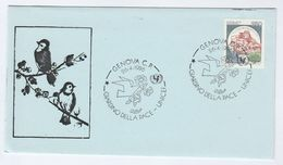 1986 Genoa UNICEF PEACE GARDEN EVENT COVER Italy Un United Nations Bird Flower Stamps Birds - UNICEF