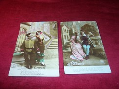 THEME FANTAISIE ° COUPLE 2 CARTES   BELGIQUE 1920 °°° LE PASSANT  + CARMEN - Fantaisies