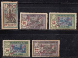 Surcharge 5 Diff.,  French India MH / Wash Gum 1942, Overprint FRANCE LIBRE And Cross, As Scan - India (1892-1954)