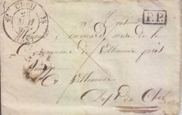 Lettre De Creil (dateur T 13) Du 25 Mai 1832 Pour Villeneuve Prés Bourges, Taxe 6+1=7 Décimes En Port Payé - Marcofilia (sobres)
